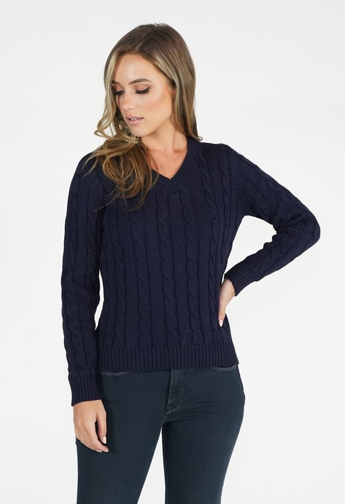 Twist Navy V Neck Cable Knit Jumper