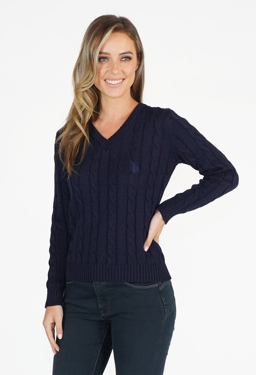 Twist Navy V Neck Cable Knit Jumper