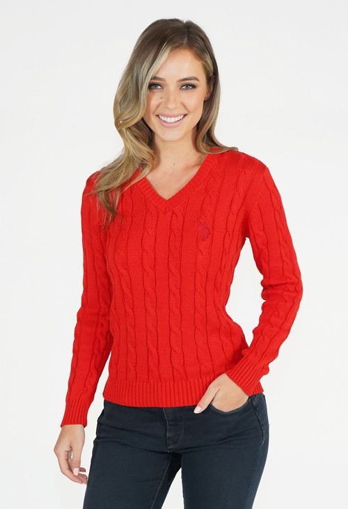 Twist Red V Neck Cable Knit Jumper
