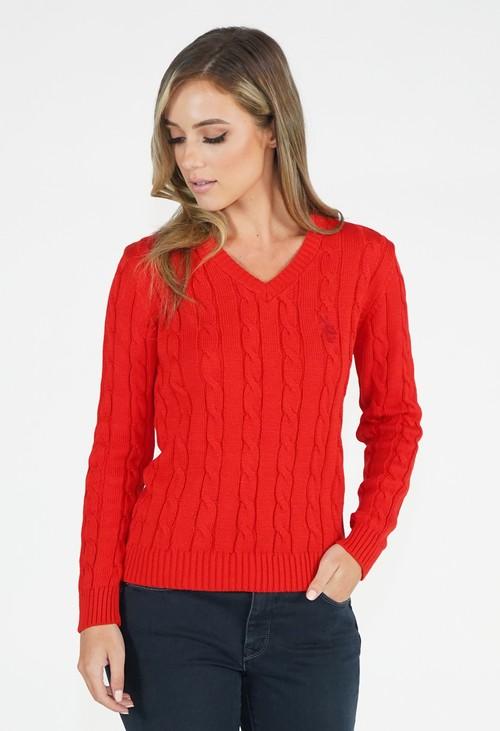 Twist Red V Neck Cable Knit Jumper