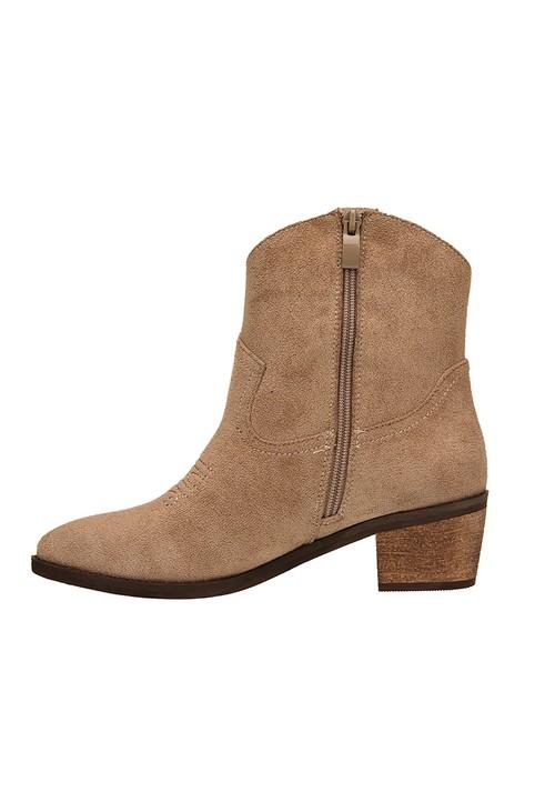 Pamela Scott Beige Western Style Ankle Boots