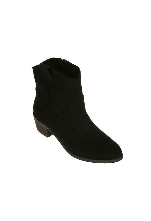 Pamela Scott Black Western Style Ankle Boot