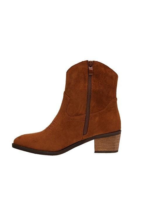 Pamela Scott Camel Western Style Ankle Boot