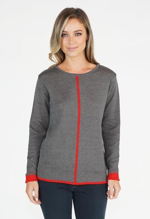 Twist Contrast Stripe Pullover