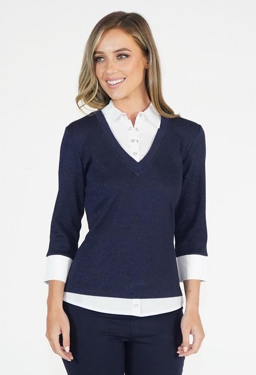 Twist Navy Sparkle 2 in 1 Pullover
