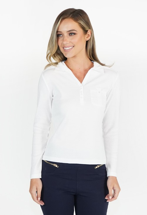 Twist White Button Detail Polo Top