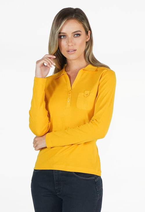 Twist Yellow Button Detail Polo Top