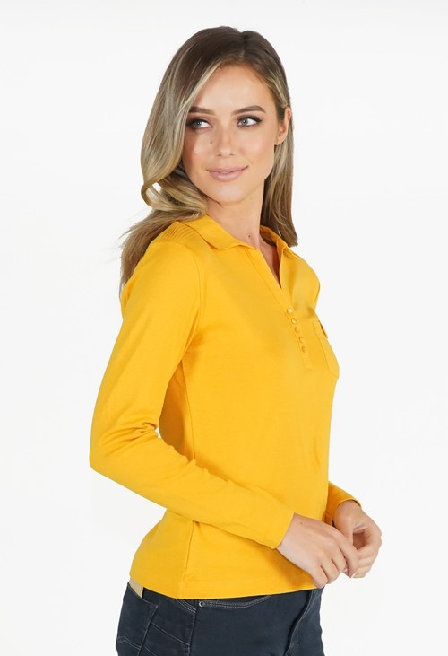 Twist Yellow Button Detail Polo Top