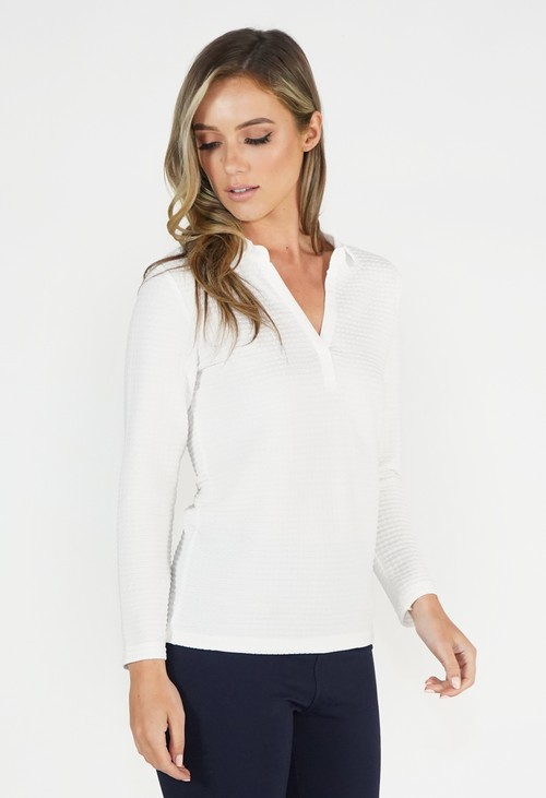 Twist White Textured Polo Top