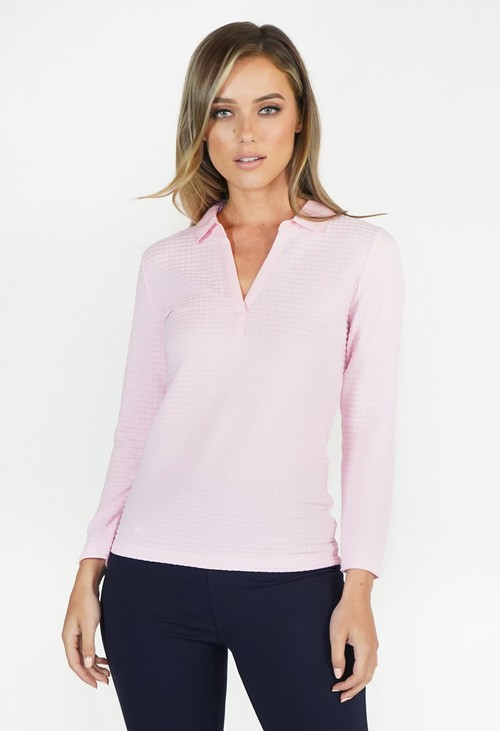 Twist Pink Textured Polo Top
