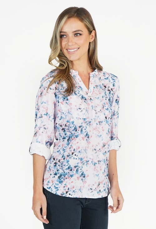 Twist Pink and Blue Floral Blouse