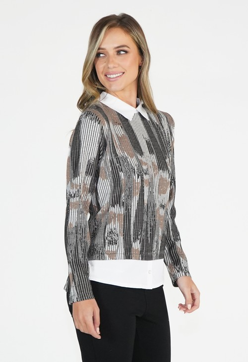 Sophie B Taupe and Camel 2 in 1 Top