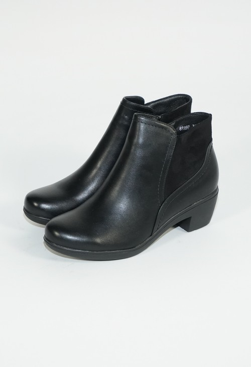 Pamela Scott Black Block Heel Plain Boots