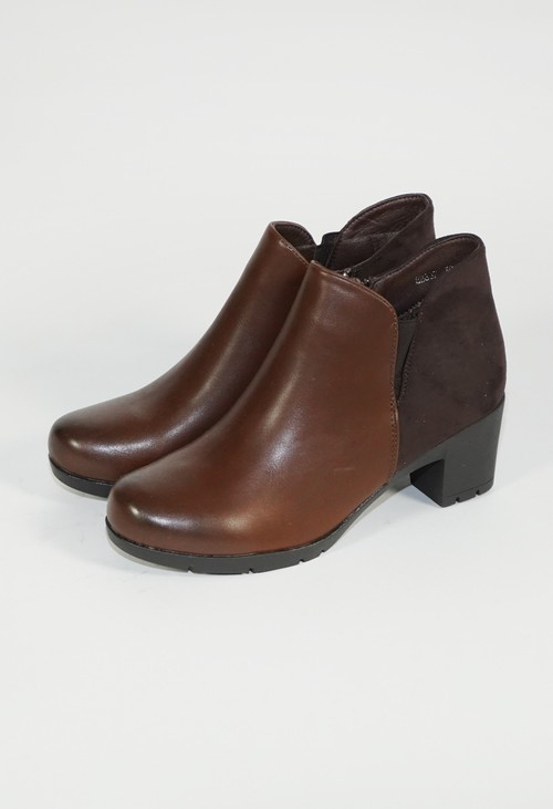 Pamela Scott Brown Block Heel Cushion Plain Boot