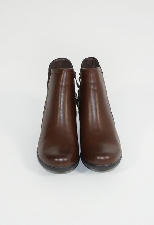 Pamela Scott Brown Block Cushion Heel Plain Boots