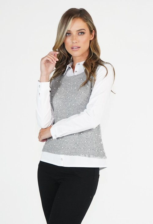 Sophie B Soft Grey 2 in 1 Top with Pearl Detail