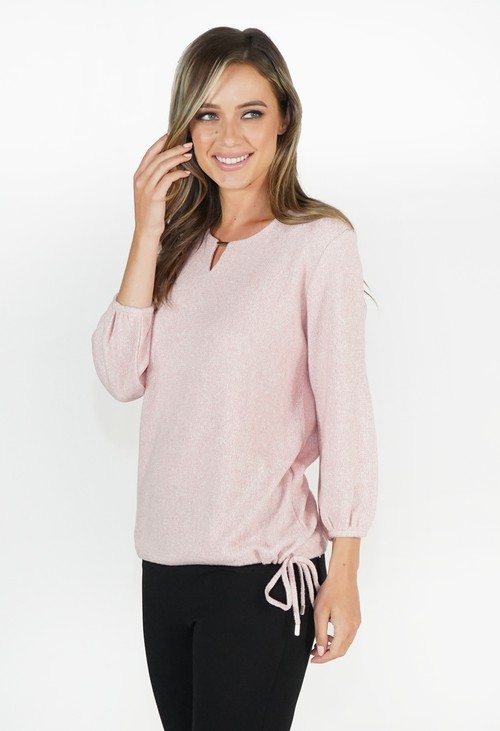 Sophie B Soft Rose Soft Touch Top with Side Tie
