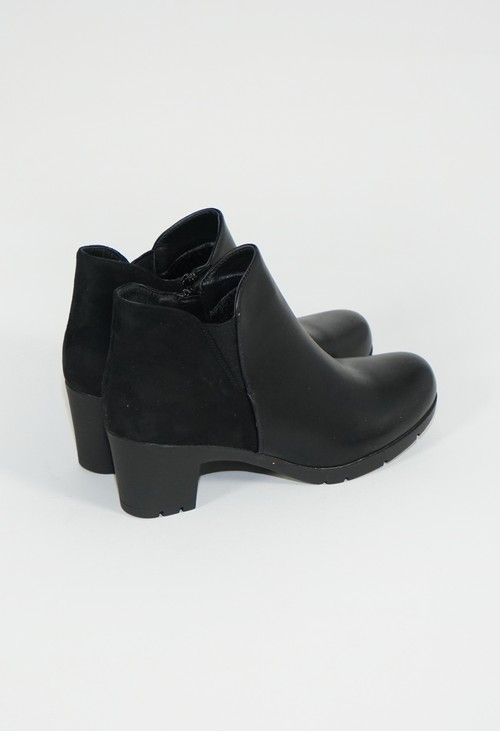Pamela Scott Decorative Side Panel Black Block Heel Boot