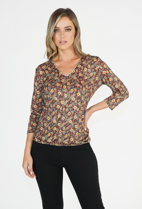 Zapara Rust/Gold Patterned V Neck Top