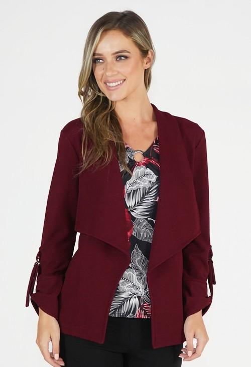 Sophie B Burgundy Open Jacket