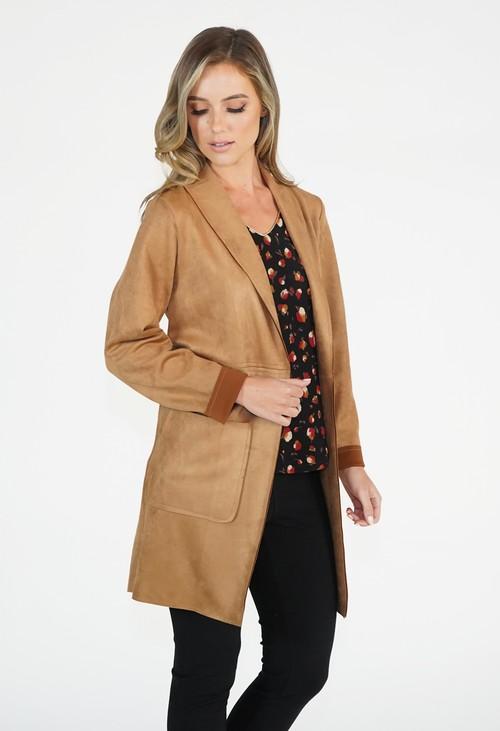 Sophie B Tan Suedette Longline Blazer Jacket