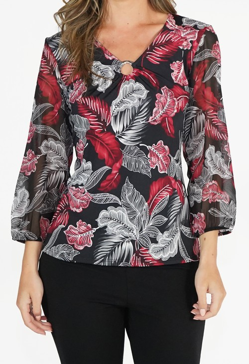 Zapara Red and Black Pattern Top