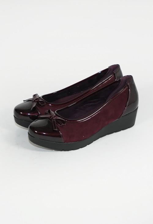 Pamela Scott Bordeaux Low Wedge Cap Toe Shoe