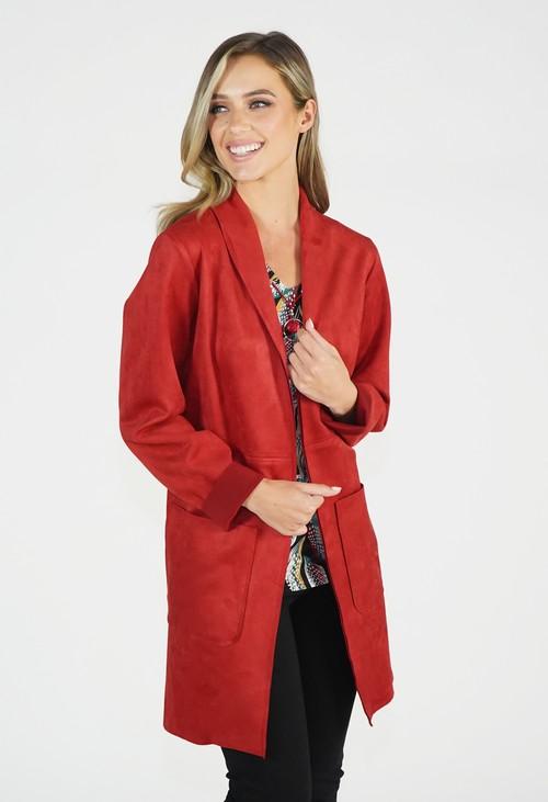 Sophie B Rust Suedette Longline Blazer Jacket