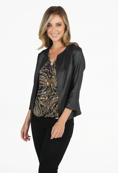 Sophie B Black Leather Look Open Jacket