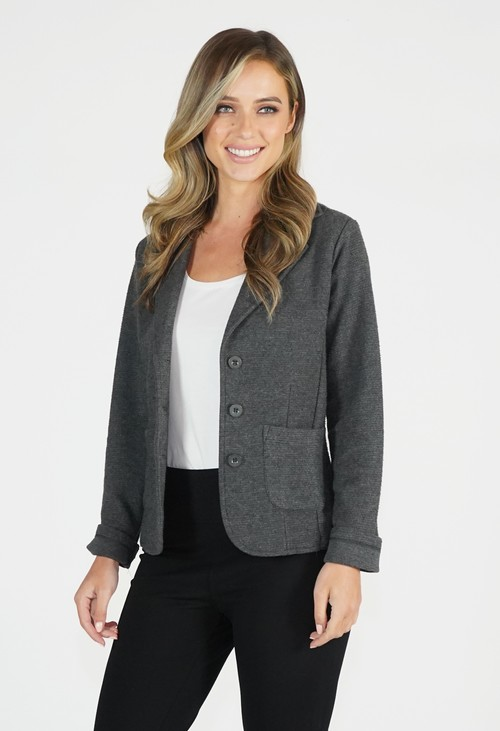 Twist Grey Ribbed Blazer