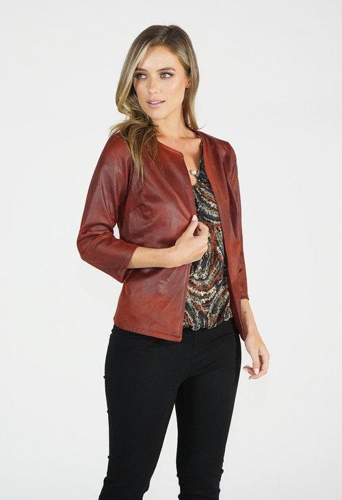Sophie B Rust Leather Look Open Jacket