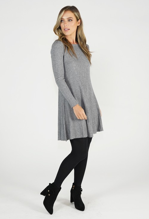 Zapara Grey Ribbed Fit and Flare Dress