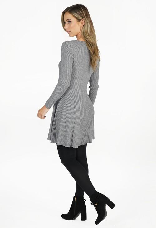 Zapara Grey Ribbed Fit and Flare Dress