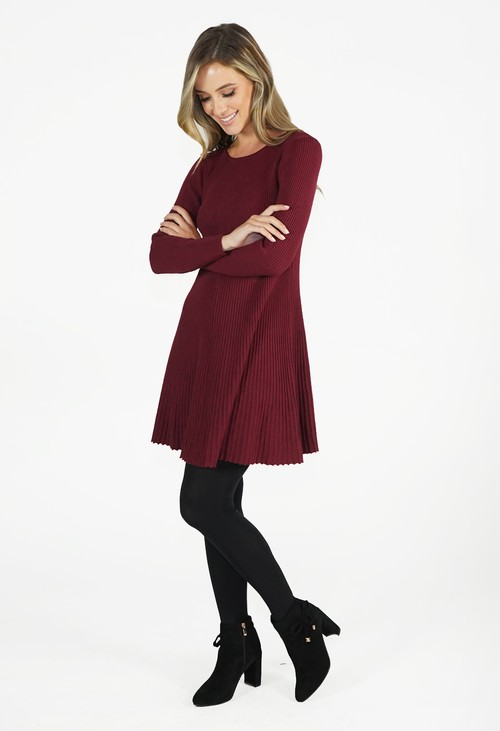 Zapara Wine Ribbed Fit and Flare Dress