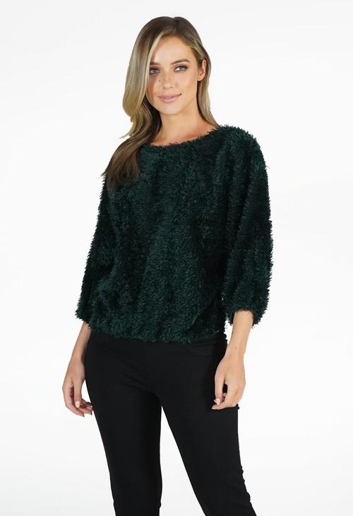 Zapara Green Fluffy Top