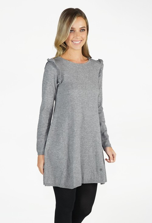 Zapara Grey Fit and Flare Knit Dress