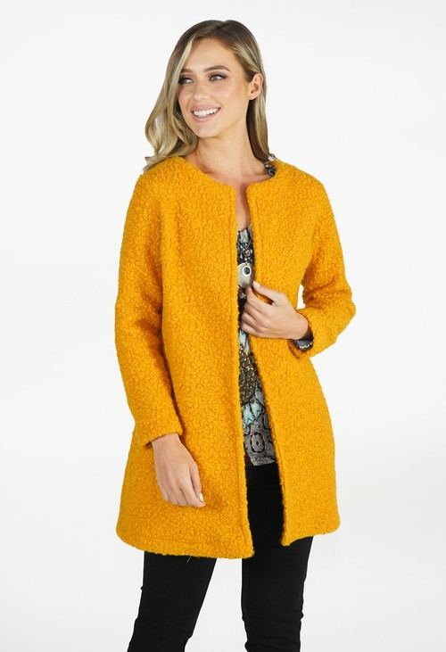 Sophie B Mustard Textured Open Jacket