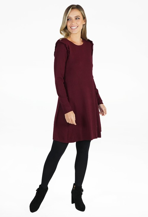 Zapara Wine Fit and Flare Knit Dress