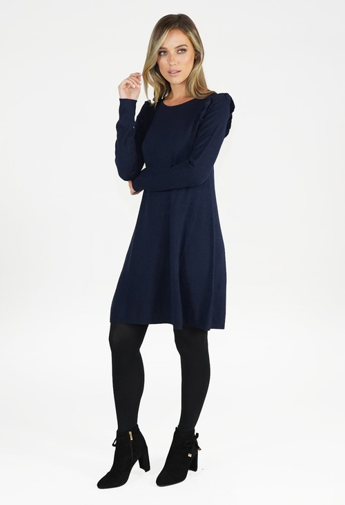 Zapara Navy Fit and Flare Knit Dress