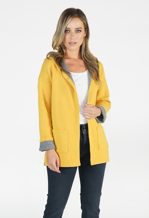 Twist Ochre and Grey Hooded Knit Jacket