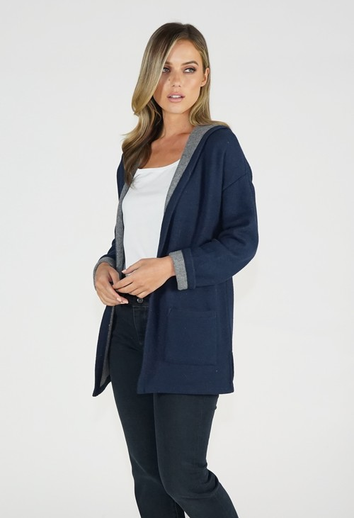 Twist Navy/Grey Knit Cardigan