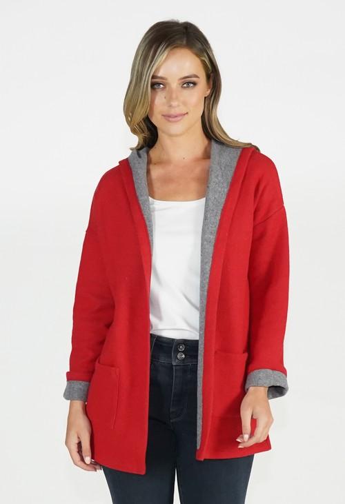 Twist Coral Red/Grey Knit Cardigan