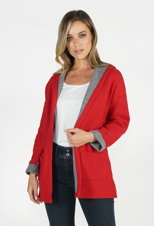 Twist Coral Red/Grey Knit Cardigan