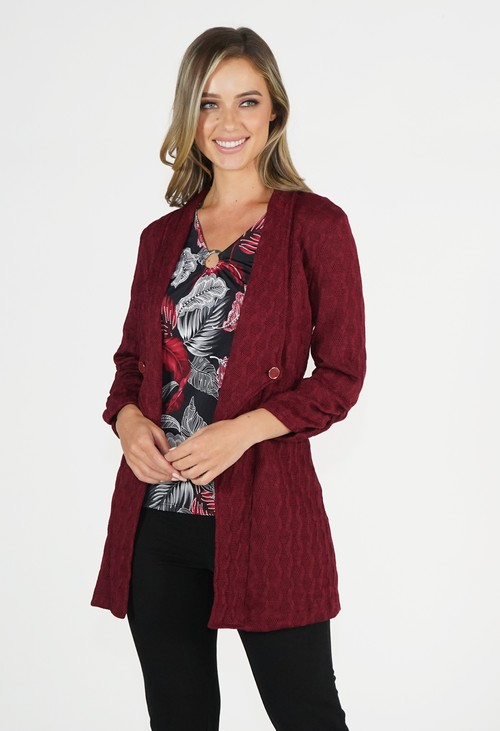 Zapara Bordeaux Red Knit Cardigan
