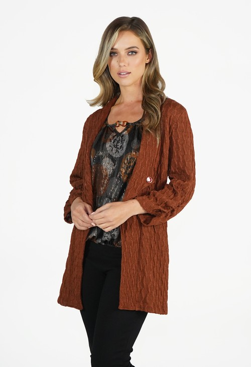 Zapara Rust Knit Cardigan
