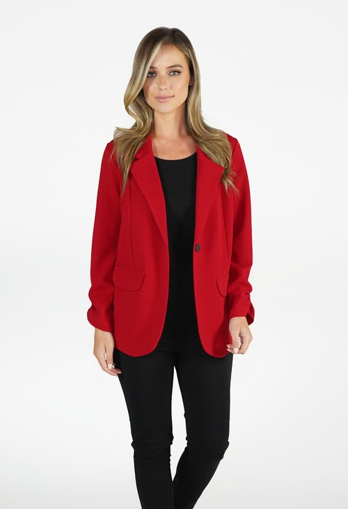 Zapara Red Open Blazer Jacket
