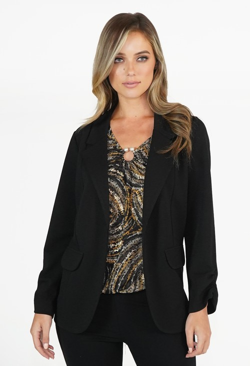 Zapara Black Open Blazer Jacket