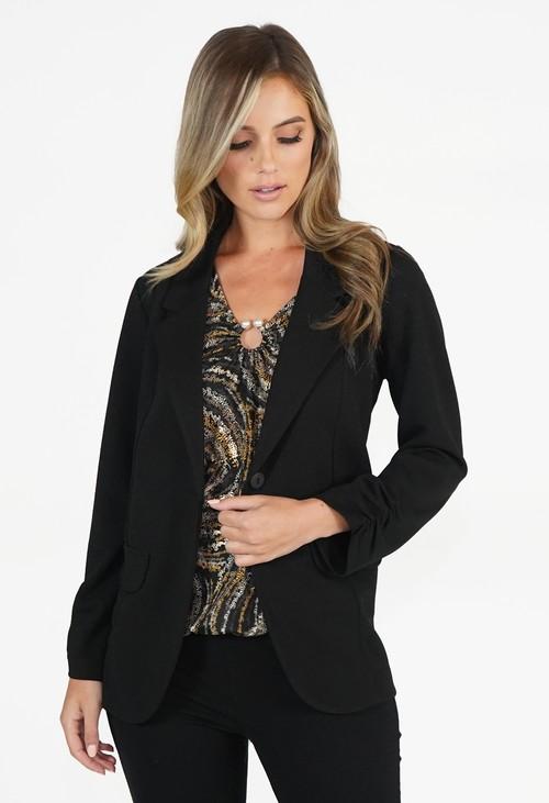 Zapara Black Open Blazer Jacket