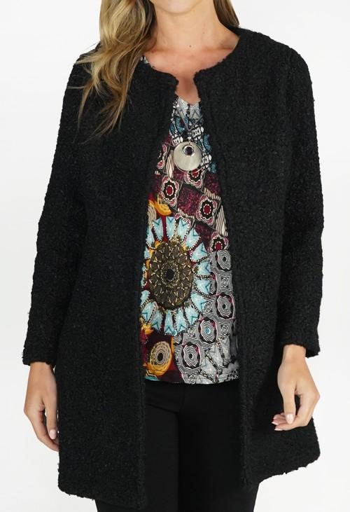 Sophie B Black Textured Open Jacket
