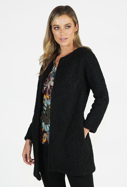Sophie B Black Textured Open Jacket